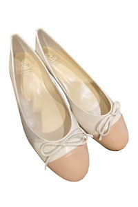 Bi-colored GIOVANNA GRAZZINI ballerinas in beige and ecru Nappa leather