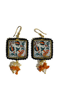 black and orange earrings made of ceramics on lava stones and corals TAORMINA