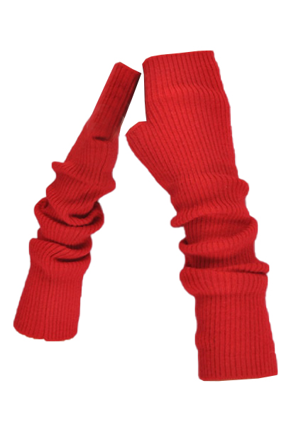 long red cuffs in 100% cashmere | red cashmere cuffs | Arm Warmers | Cashmere Fingerless Long Gloves