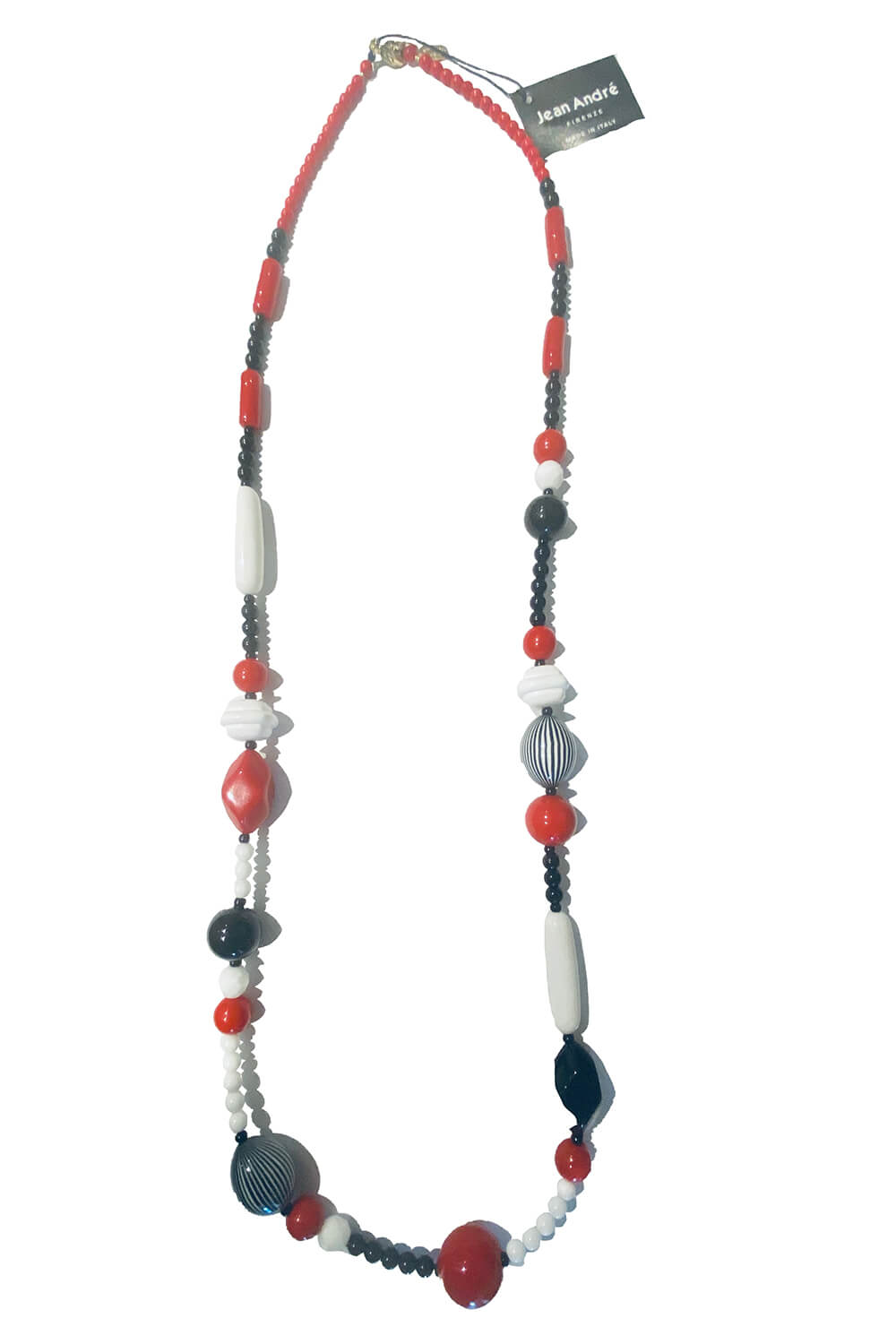JEAN ANDRÉ long necklace in white, red and black made of resin MANHATTAN