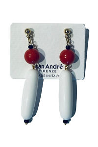 JEAN ANDRÉ earrings in white, red and black made of resin LONG ISLAND