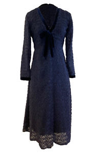 midi dress in signature blue feather-like silk chiffon with a bow in silk velvet GALAXIA | suitable for taller women