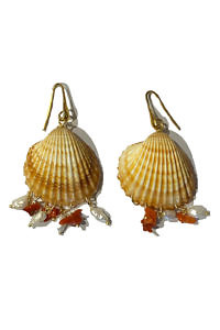 earrings with shells, corals and gold plated 925 sterling silver LIPARI