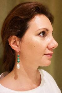 Ohrringe mit Süßwasserperlen und grünem Onyx LAGUNA