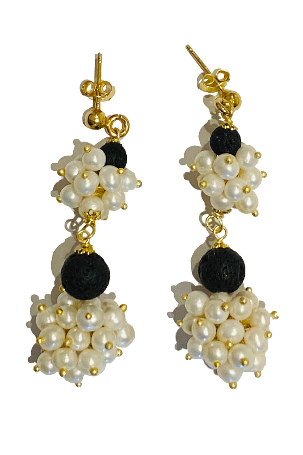earrings with pearls and lava VULCANO | black and white earrings