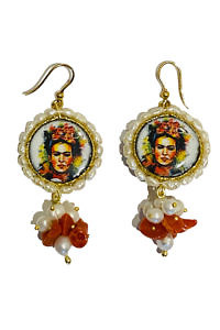 golden earrings with painted lava stones and sweet water pearls ELSA