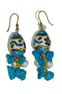earrings with turquoise stones and painted egg