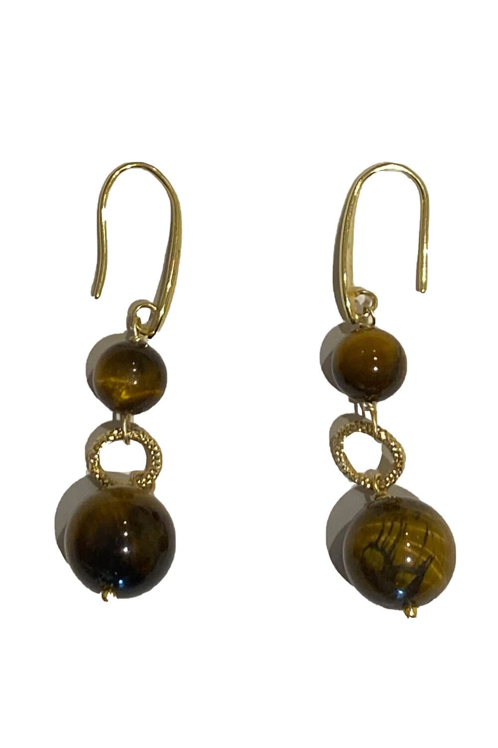 earrings with tiger eye stones and gold plated 925 sterling silver TORINO