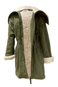 olivgrüner Parka-Mantel MANDY aus einer leichten Kaschmir-Wollmischung und künstlichem Shearling-Futter (Baumwolle)