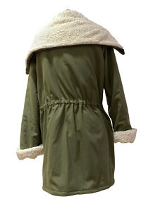 olive green parka coat MANDY in a light cashmere wool blend and faux shearling lining (cotton)