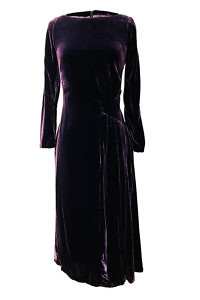midi dress in violet silk velvet LOREN | violet cocktail dress
