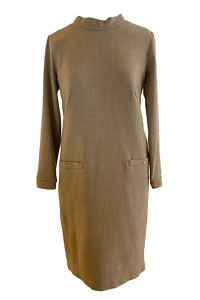 shift dress TESSA in beige cashmere wool blend | beige wool dress
