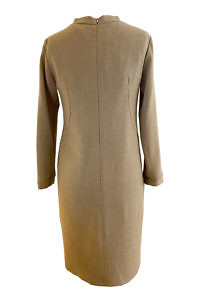 shift dress by ASITA SAHABI in beige wool | beige wool dress