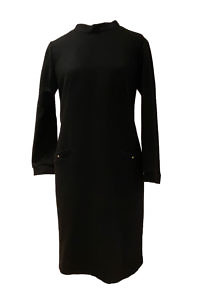shift dress TESSA in a black wool blend | black wool dress