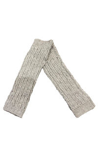 short grey cuffs with a braided pattern in 100% cashmere | grey cashmere cuffs | Cashmere Fingerless Long Gloves
