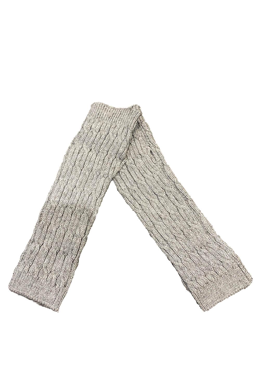 short grey cuffs with a braided pattern in 100% cashmere | grey cashmere cuffs | Cashmere Fingerless Long Gloves