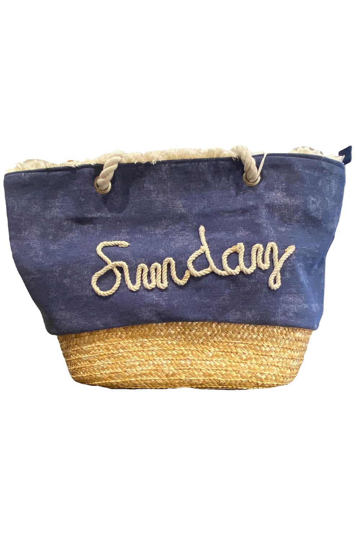 blaue Strandtasche aus Leinen und Bast | blaue Leinentasche mit SUNDAY-Slogan