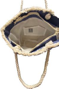 blue linen and raffia beach bag | blue linen tote
