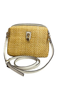 GIANNI NOTARO | small beige cross body bag in raffia with ecru leather details