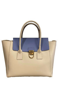 GIANNI NOTARO | large leather hand bag in Ivory and Ice Blue with horn details