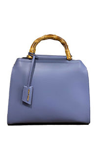 GIANNI NOTARO | middle sized taupe blue leather hand bag with bamboo handle