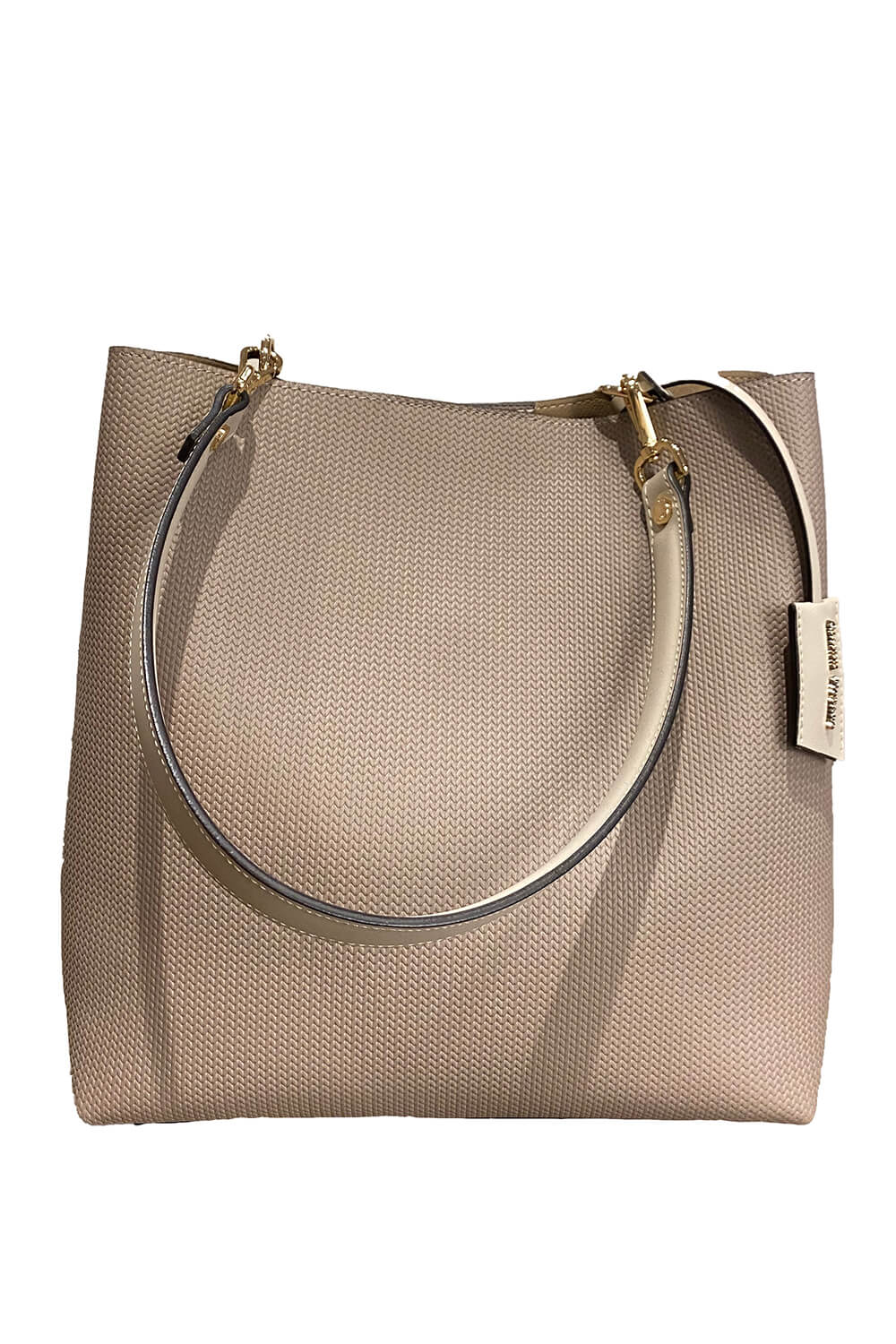 GIANNI NOTARO | shoulder bag in Taupe with a braided structure and suede leather details
