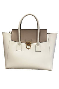 GIANNI NOTARO | large leather hand bag in Ivory and Taupe with horn details