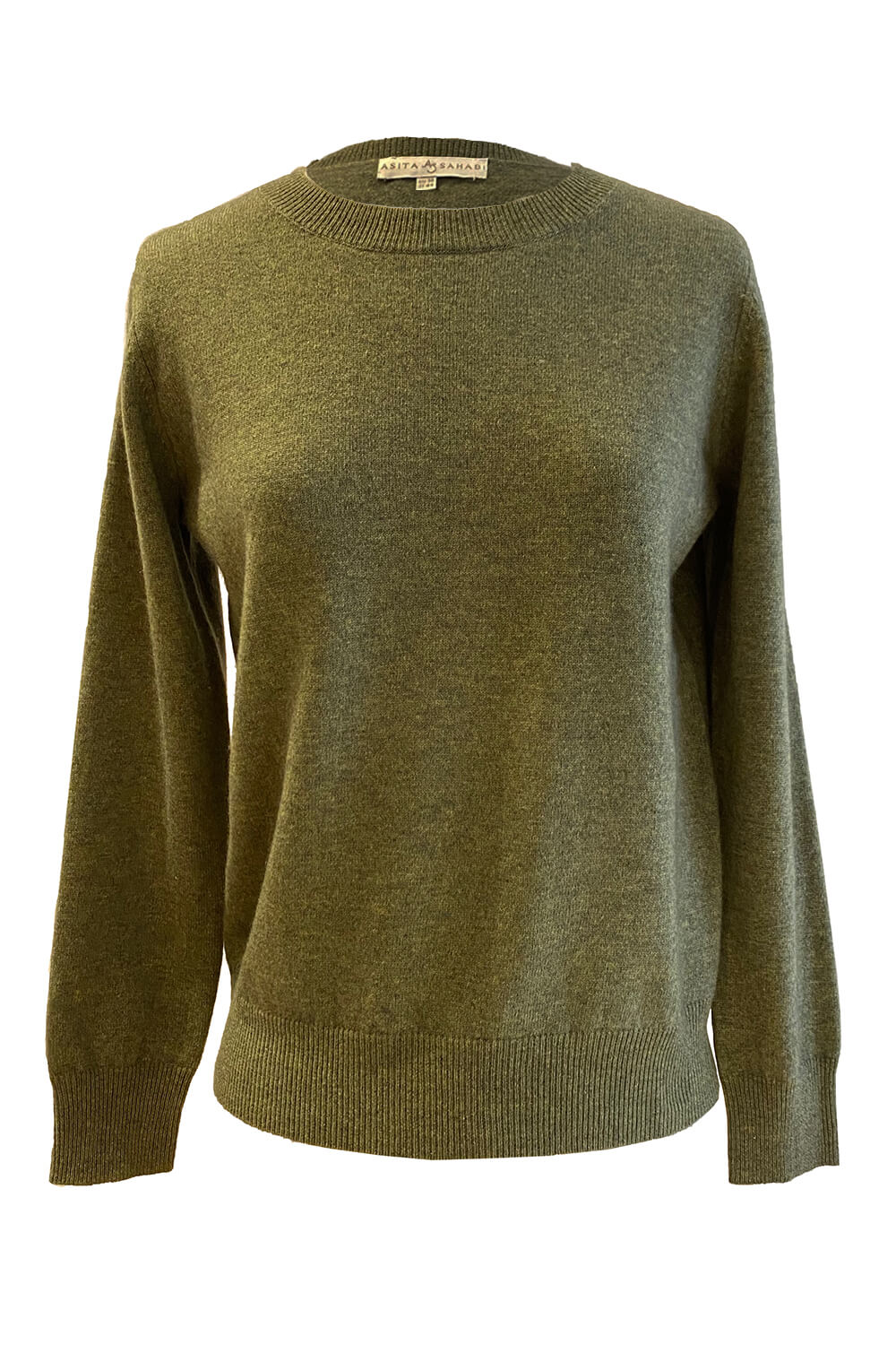 olive green premium quality round neck cashmere sweater BEATE