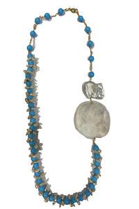 Halskette mit türkisfarbenen Steinen, Perlen und Perlmutt | türkisfarbene Halskette | Onlineshop mit Internationalem Versand