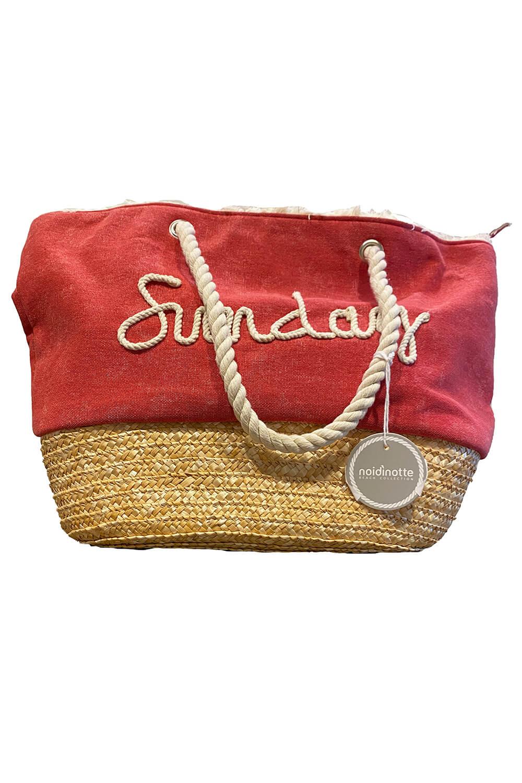 Strandtasche aus rotem Leinen und Bast | rote Leinentasche mit SUNDAY-Slogan