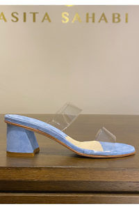 light blue sandals with 5 cm heels in suede leather and soft plexiglass ELBA | blue leather mules