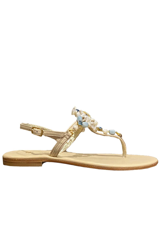 Capri leather sandals with a Seastar, light green jewels and Swarovski stones in beige leather LAGUNA