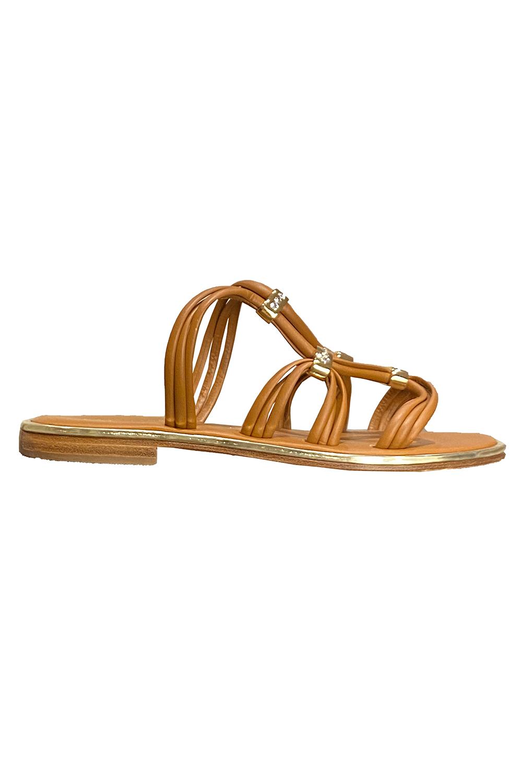 PAOLA FIORENZA Capri |  brown leather sandals with golden details and Swarovski stones TERRA