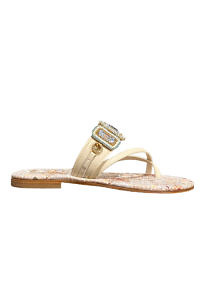 PAOLA FIORENZA beige, turquoise and terra-cotta Capri leather sandals with a tile pattern and Swarovski stones ESTATE