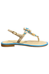 PAOLA FIORENZA turquoise and ivory Capri leather sandals with a flower made of shells, jewels and Swarovski stones in nappa leather