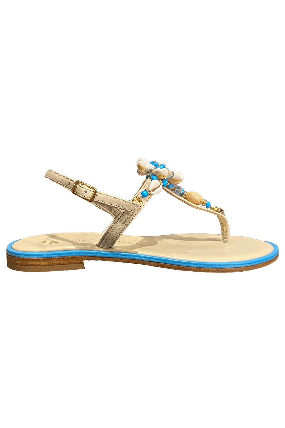 PAOLA FIORENZA turquoise and beige Capri sandals with a flower made of shells and Swarovski stones in nappa leather CONCHIGLIA