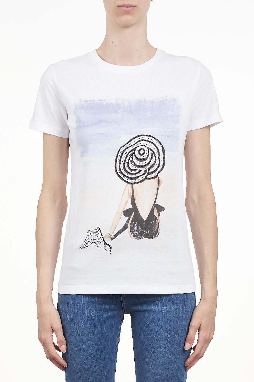 #7.0 SETTEPUNTOZERO white T-shirt with rhinestones | lady on a beach