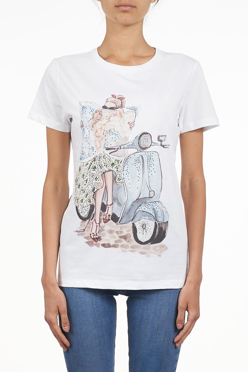 #7.0 SETTEPUNTOZERO white T-shirt with rhinestones | signorina on a vespa