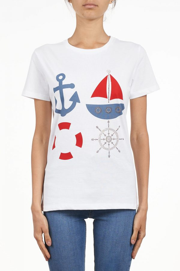 #7.0 SETTEPUNTOZERO white T-shirt with rhinestones | cruise T-shirt | maritime shirt