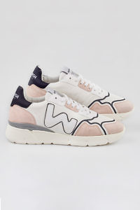 WOMSH sustainable Sneakers RUNNY WHITE PHARD in white recycled PET bottles, nude and black leather