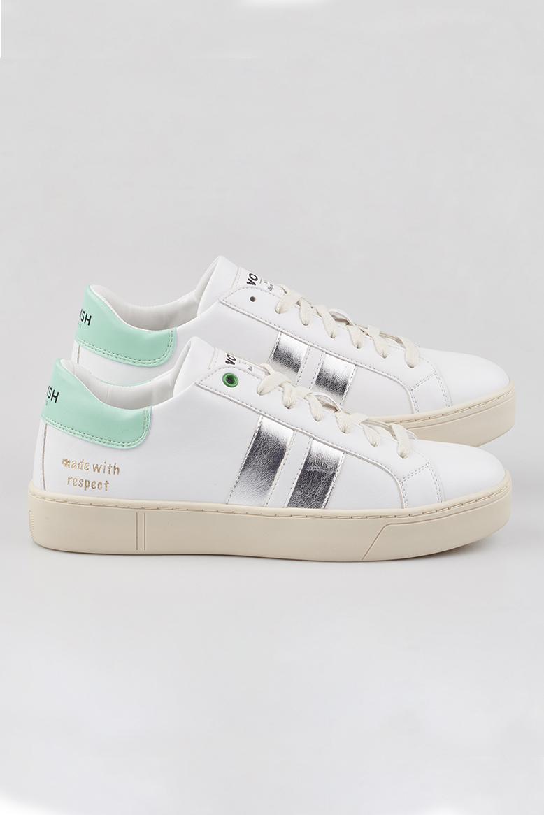 WOMSH Vegan and sustainable Sneakers VEGAN KINGSTON WHITE WAVE in white and mint with a contrasting band in silver