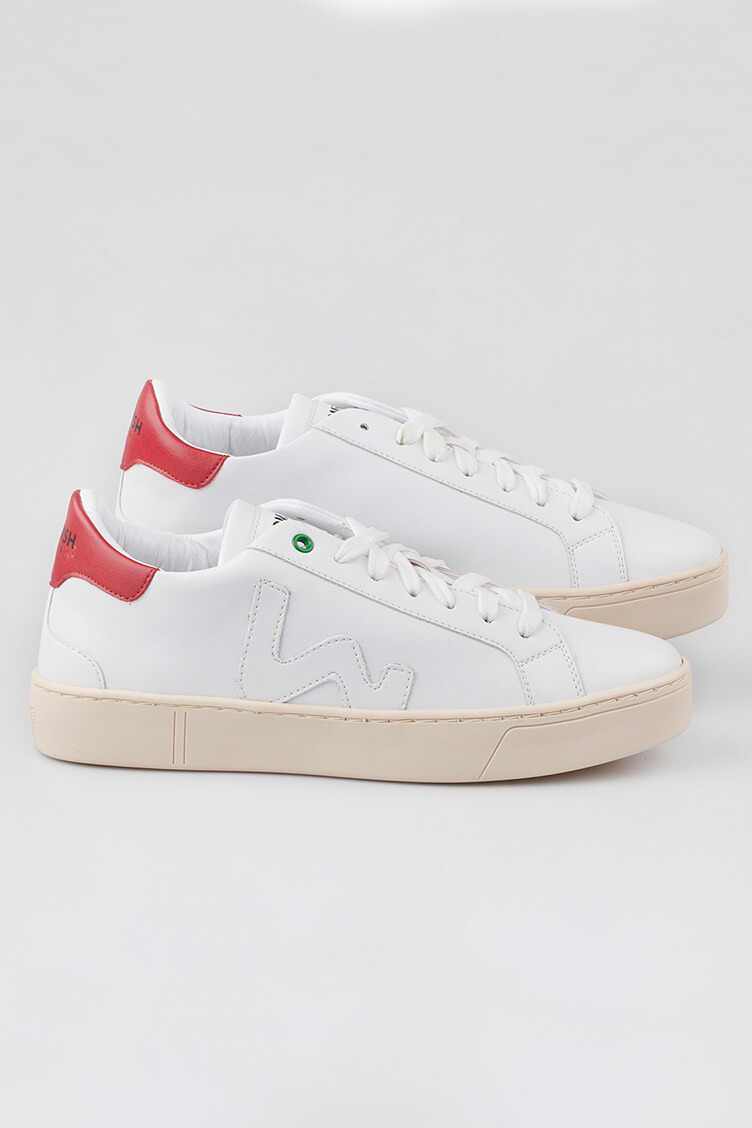 WOMSH Vegan and sustainable Sneakers VEGAN SNIK WHITE RED in white and red eco-leather